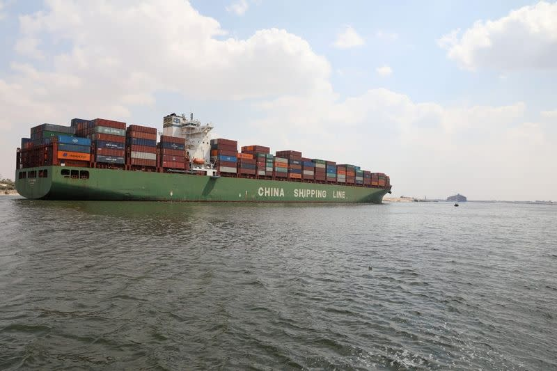 A container ship sails at the Suez Canal, in Ismailia