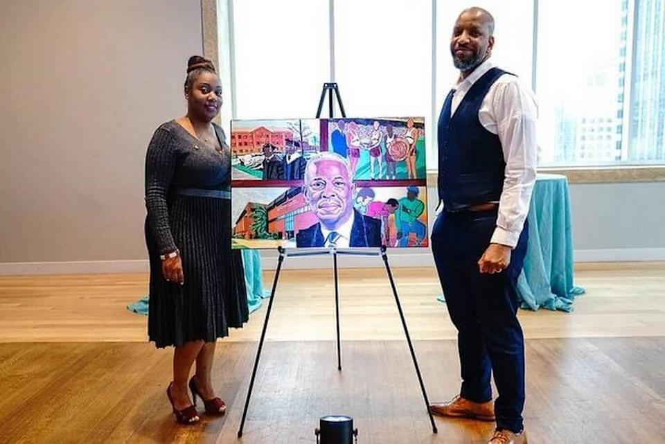 Ebony House-Bradshaw, senior director of human resources at the Mint Museum, with local artist Shawn Ethridge, whose work focuses on HBCUs. During COVID, House-Bradshaw accelerated the Mint's work on diversity, equity, inclusion and accessibility.
