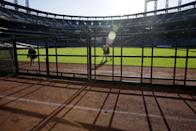 A white chalk line marks the location of the prior season's outfield wall at Citi Field in New York, Tuesday, Nov. 18, 2014. The New York Mets announced that they are moving a portion of the outfield wall to make the field smaller. (AP Photo/Seth Wenig)