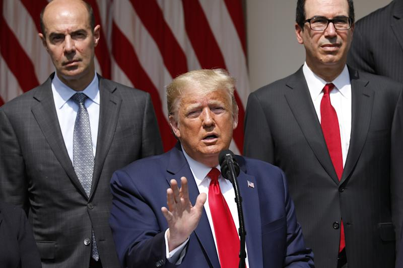 U.S. President Donald Trump delivers remarks before signing H.R. 7010 - PPP Flexibility Act of 2020 in the Rose Garden of the White House in Washington, D.C., U.S., on Friday, June 5, 2020. (Yuri Gripas/Abaca/Bloomberg via Getty Images)