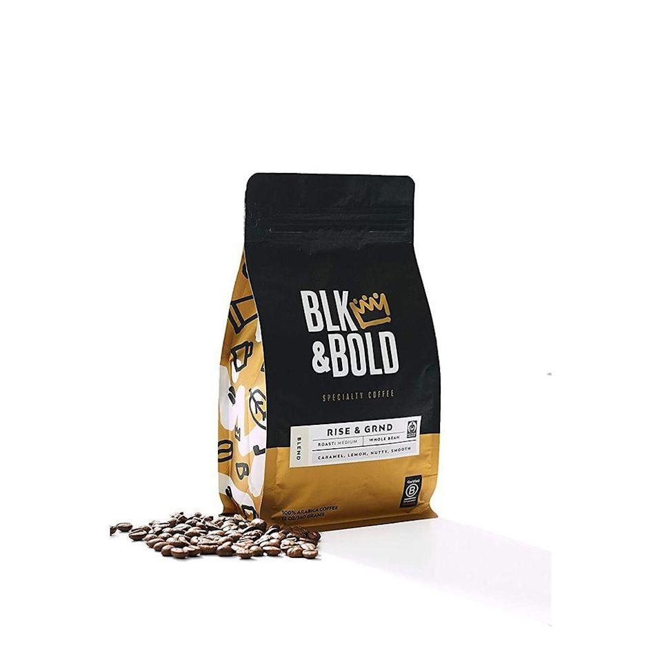 """<p><strong>BLK & Bold</strong></p><p>amazon.com</p><p><strong>$12.98</strong></p><p><a href=""""https://www.amazon.com/dp/B085JKLPB2?tag=syn-yahoo-20&ascsubtag=%5Bartid%7C2089.g.376%5Bsrc%7Cyahoo-us"""" rel=""""nofollow noopener"""" target=""""_blank"""" data-ylk=""""slk:Shop Now"""" class=""""link rapid-noclick-resp"""">Shop Now</a></p><p>Looking to gift a guarantee for good mornings this Christmas? This blend of Arabica beans is sure to please. With notes of smooth toffee and tart citrus, it's not too sweet but not too acidic. A cup of this will make you want to rise and grind, just as the name implies. </p>"""