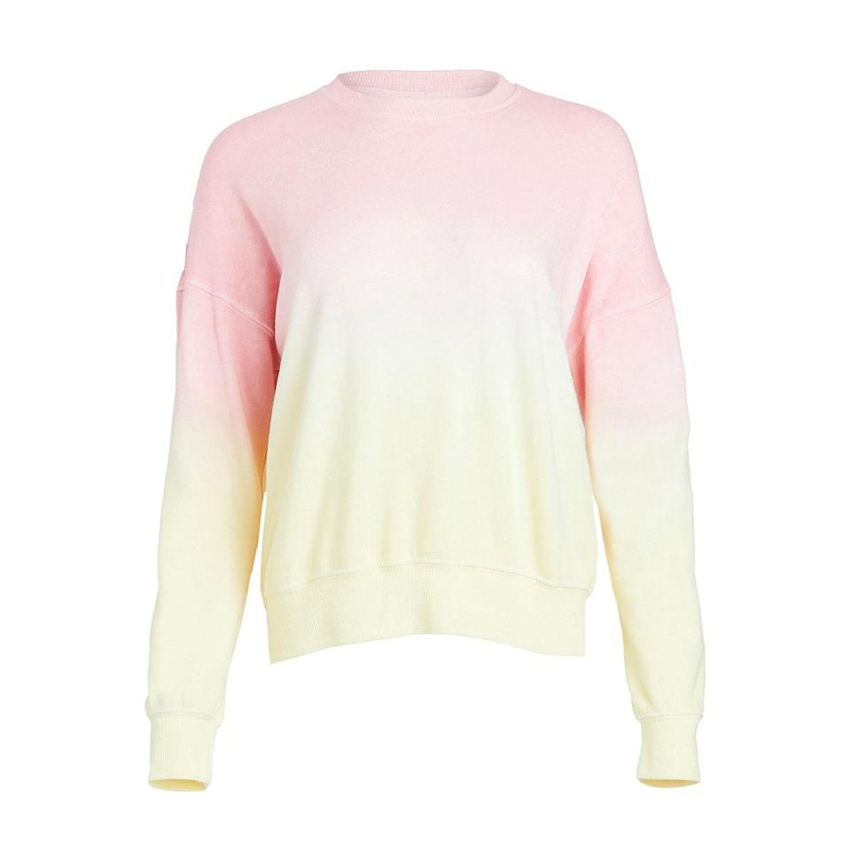 """If you're in desperate need of a new sweatshirt, this popsicle-hued Sundry one is <em>it.</em> Call it ombre, dip, or <a href=""""https://www.glamour.com/gallery/tie-dye-spring-trend?mbid=synd_yahoo_rss"""" rel=""""nofollow noopener"""" target=""""_blank"""" data-ylk=""""slk:tie-dye"""" class=""""link rapid-noclick-resp"""">tie-dye</a>, it's everything you could want in a WFH-sweater. $168, Amazon. <a href=""""https://www.amazon.com/SUNDRY-Womens-Sweatshirt-Banana-Yellow/dp/B08GRB3FNY?s=shopbop&ref_=sb_ts"""" rel=""""nofollow noopener"""" target=""""_blank"""" data-ylk=""""slk:Get it now!"""" class=""""link rapid-noclick-resp"""">Get it now!</a>"""
