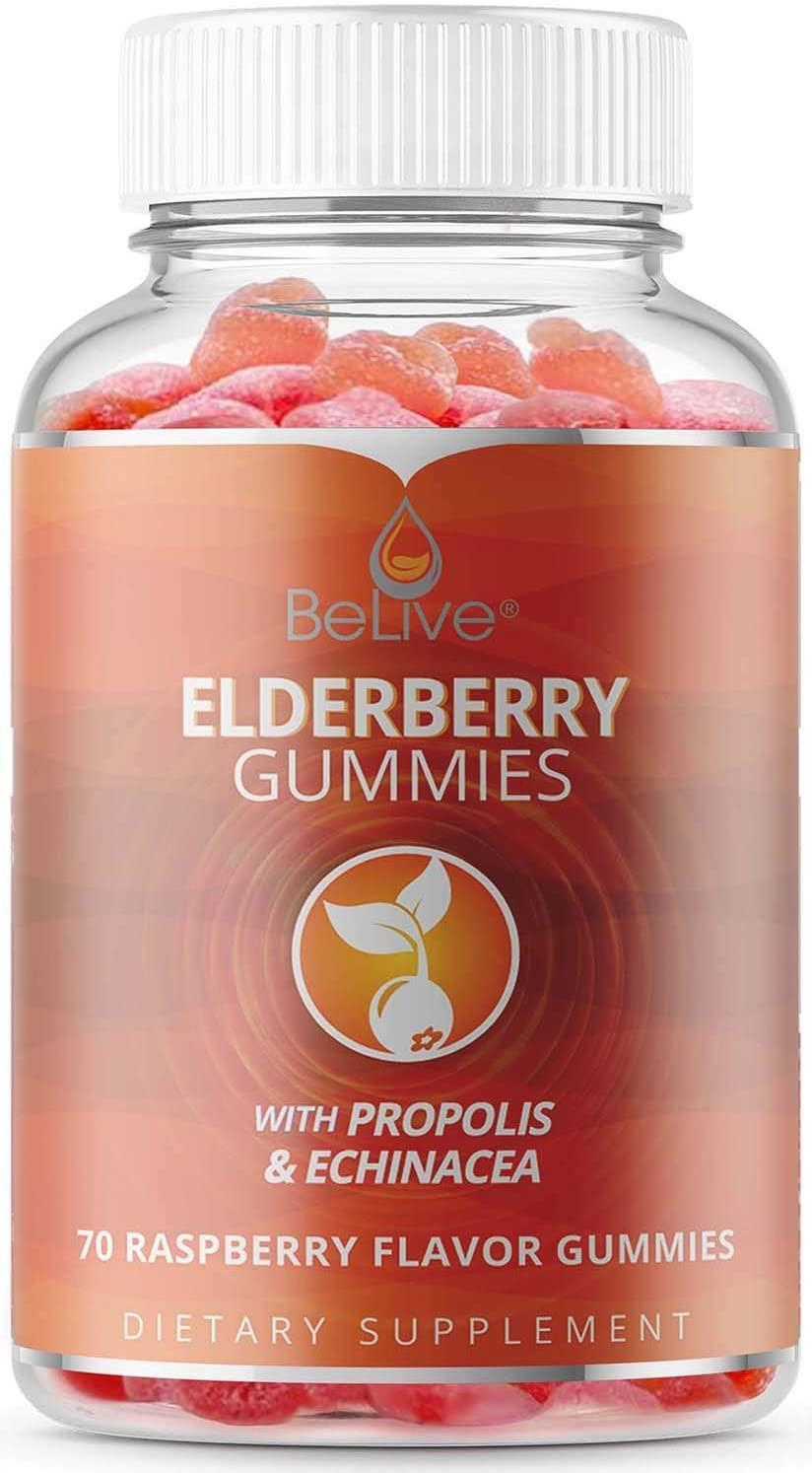 """<h3>Elderberry Immune Support Gummies</h3><br>Instead of going to the regular vitamin (or packets of Emergen-C) route, try this bottle of immune-support gummies. With over 6,000 reviews and an Amazon's Choice stamp of approval, these supplements are infused with vitamin C, propolis, echinacea-Sambucus, tart elderberry fruit, and all-natural raspberry flavor.<br><br><strong>BeLive</strong> Elderberry Gummies With Vitamin C (70 Count), $, available at <a href=""""https://amzn.to/3of1shw"""" rel=""""nofollow noopener"""" target=""""_blank"""" data-ylk=""""slk:Amazon"""" class=""""link rapid-noclick-resp"""">Amazon</a>"""