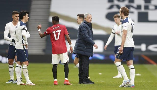 Jose Mourinho (centre) saw his Tottenham team lose to his former club Manchester United on Sunday