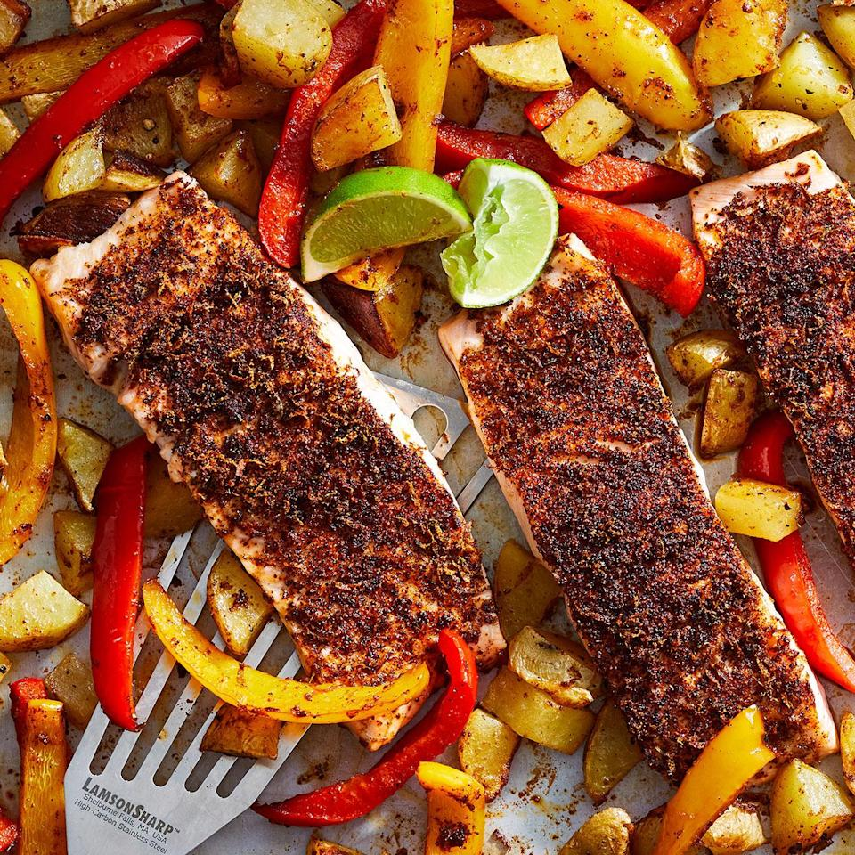 "<p>Busy weeknights beg for something simple like this salmon sheet-pan dinner. Like the name suggests, it's all cooked on one pan. The potatoes get a head start, followed by sweet bell peppers and finally chili-coated salmon fillets. It's a complete meal with easy cleanup! <a href=""http://www.eatingwell.com/recipe/278874/sheet-pan-chili-lime-salmon-with-potatoes-peppers/"" rel=""nofollow noopener"" target=""_blank"" data-ylk=""slk:View recipe"" class=""link rapid-noclick-resp""> View recipe </a></p>"
