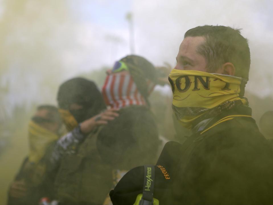 Members of Proud Boys gather for a rally in Portland, Oregon, US, 26 September 2020 (REUTERS)