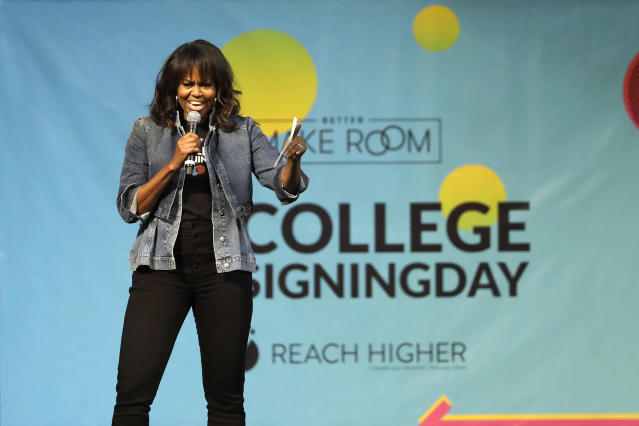 <span>Michelle Obama celebrated incoming college kids on College Signing Day. (Photo: AP/Matt Slocum)</span>