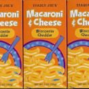 """<p>Trader Joe's private label products are known to be hidden gems, and their <a href=""""https://www.amazon.com/Trader-Joes-Macaroni-Wisconsin-Cheddar/dp/B00DLDHTMK?tag=syn-yahoo-20&ascsubtag=%5Bartid%7C10063.g.37574802%5Bsrc%7Cyahoo-us"""" rel=""""nofollow noopener"""" target=""""_blank"""" data-ylk=""""slk:Macaroni & Cheese with Wisconsin Cheddar"""" class=""""link rapid-noclick-resp"""">Macaroni & Cheese with Wisconsin Cheddar</a> is no exception. It's a solid meal without any frills which isn't necessarily a bad thing. The coloring is more off-white than the golden hue that you'd expect to see. While the dish could be cheesier, it did taste a bit lighter than the other brands. </p>"""