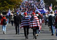 Supporters of US President Donald Trump rally in Washington, claiming that the November 3 election was fraudulent