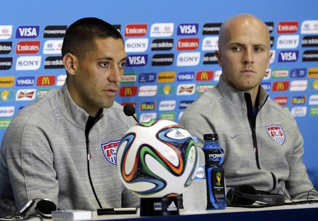 United States' Clint Dempsey, left, and Michael Bradley attend a press conference before an official training session the day before the group G World Cup soccer match between Ghana and the United States at the Arena das Dunas in Natal, Brazil, Sunday, June 15, 2014. (AP Photo/Dolores Ochoa)