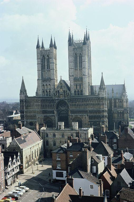 A view of Lincoln Cathedral from the castle, Lincoln, Lincolnshire, England.