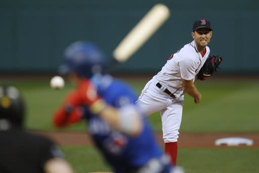 Boston Red Sox's Ryan Weber pitches during the first inning of a baseball game against the Toronto Blue Jays, Friday, Aug. 7, 2020, in Boston. (AP Photo/Michael Dwyer)