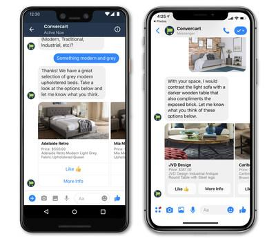With Convercart, shoppers can interact with design consultants in real-time and make purchases via popular messaging services like Facebook Messenger.