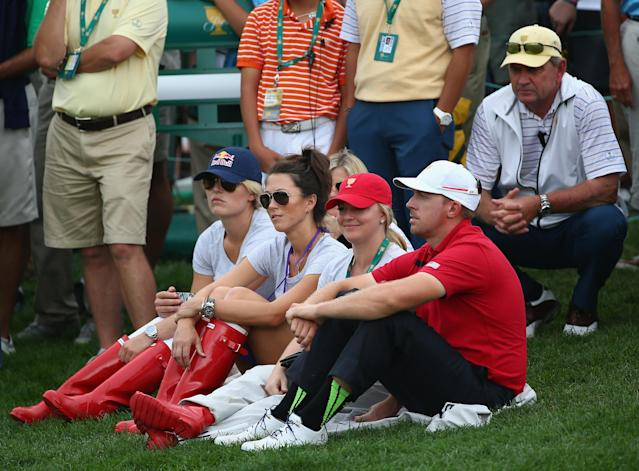 DUBLIN, OH - OCTOBER 05: Sybi Kuchar and Olympic skiier Lindsey Vonn watch the action with Kandi and Hunter Mahan on the 15th hole during the Day Three Four-ball Matches at the Muirfield Village Golf Club on October 5, 2013 in Dublin, Ohio. (Photo by Andy Lyons/Getty Images)