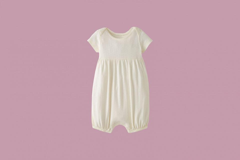 """<p>This organic cotton is super soft for little ones to play every day, with sweet pointelle stitching and easy snaps for effortless changes.</p> <p><strong><em>Shop Now:</em></strong><em> Hanna Andersson Romper in Organic Cotton, in Sea Salt Pointelle, $32, <a href=""""https://hanna-andersson.8ne3.net/c/249354/388344/5644?u=https%3A%2F%2Fwww.hannaandersson.com%2Fshop%2F53897-NL9-NB.html&subid1=MSLLIFEBabyShowerInABoxDeliveryAChurchillJuly20"""" rel=""""nofollow noopener"""" target=""""_blank"""" data-ylk=""""slk:hannaandersson.com"""" class=""""link rapid-noclick-resp"""">hannaandersson.com</a></em><em>.</em></p>"""