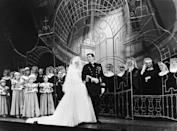 <p><em>The Sound of Music</em> opened on Broadway on November 16, 1959, featuring the classic wedding scene that so many of us remember from the 1965 film version. Pictured here are stage actors Mary Martin and Theodore Bikel, surrounded by the nuns of Nonnberg Abbey and the von Trapp children. </p>