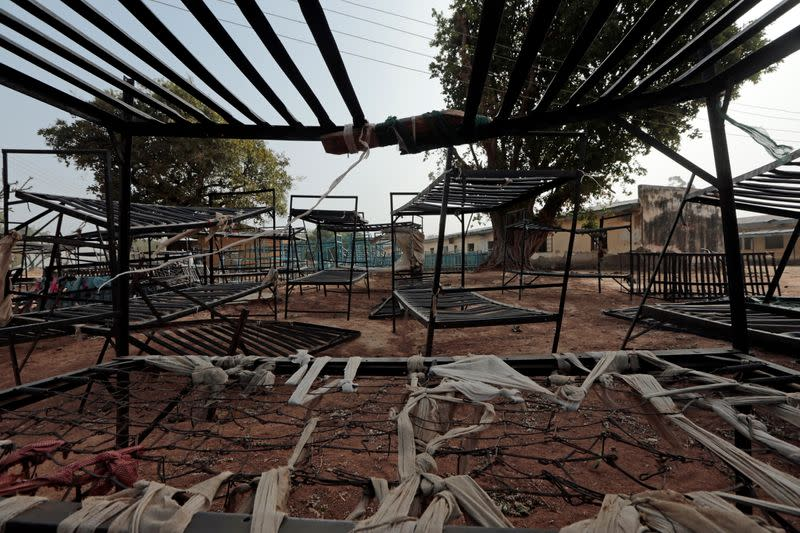 Discarded school furniture is seen within the premises of Government Science College in Kagara