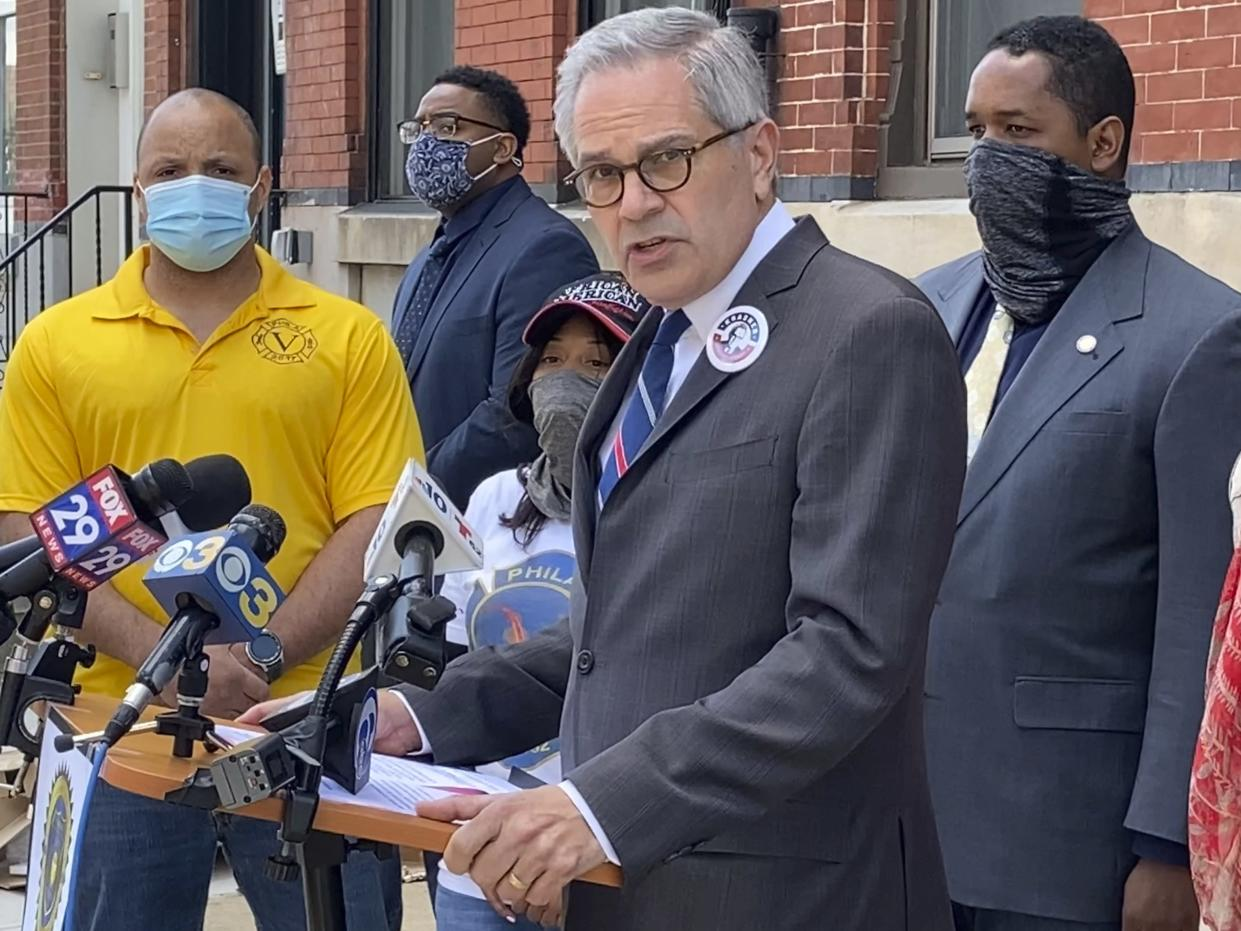 Philadelphia District Attorney Larry Krasner addresses a news conference on May 14, 2021.