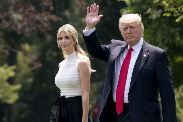 U.S. President Donald Trump and daughter Ivanka Trump walk toward Marine One before departing from the White House on June 13, 2017 in Washington, DC.