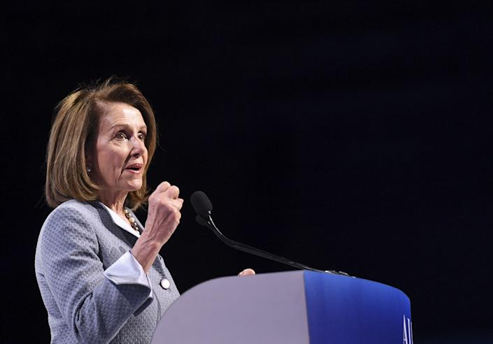 Speaker of the House Nancy Pelosi speaks during the AIPAC annual meeting in Washington, DC, on March 26, 2019. (Photo by Jim WATSON / AFP) (Photo credit should read JIM WATSON/AFP/Getty Images)