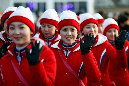 FILE PHOTO - North Korean cheerleaders and members of an orchestra leave after performing at the Gangneung Olympic Park, in Gangneung, South Korea, February 15, 2018. REUTERS/Damir Sagolj