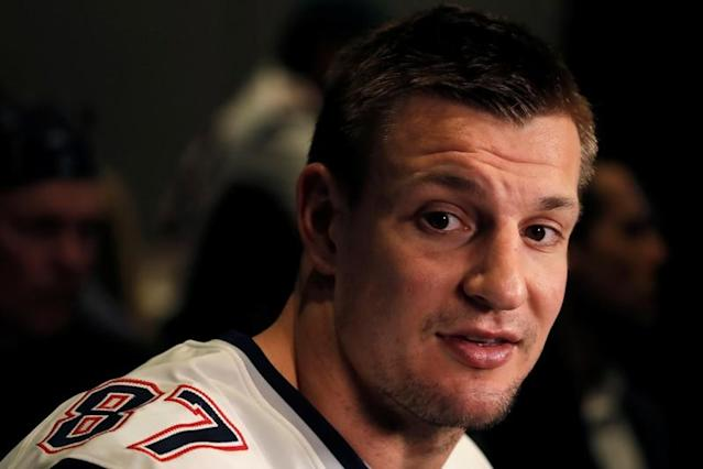 New England Patriots tight end Rob Gronkowski speaks to reporters ahead of Super Bowl LIII in Atlanta