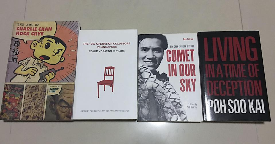 "A set of books that run counter to the dominant national narrative on Operation Coldstore. (Left to right): ""The Art of Charlie Chan Hock Chye"" by Sonny Liew, ""The 1963 Operation Coldstore in Singapore – Commemorating 50 Years"", ""Comet in Our Sky"" – a collection of essays on secretary-general of Barisan Sosialis Lim Chin Siong, and ""Living In A Time of Deception"" by ex-Coldstore detainee Poh Soo Kai"