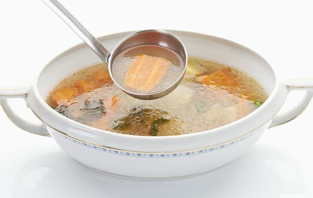 Chicken soup<br><br>Packed with protein and replenishing fluids, chicken soup really is good for colds and flu. It works as an anti-inflammatory and speeds up the production of mucus, which helps your immune system fight and remove the virus that has caused you to be poorly.