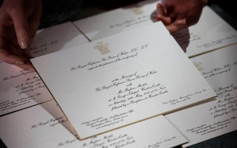 Invitations for Prince Harry and Meghan Markle's wedding in May - Credit: Victoria Jones/PA Wire