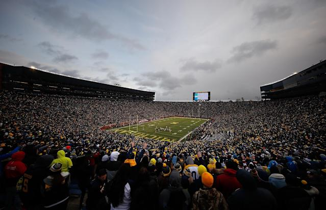 "ANN ARBOR, MI – NOVEMBER 19: General view of Michigan Stadium during a game between the <a class=""link rapid-noclick-resp"" href=""/ncaaw/teams/iai"" data-ylk=""slk:Indiana Hoosiers"">Indiana Hoosiers</a> and <a class=""link rapid-noclick-resp"" href=""/ncaaw/teams/max"" data-ylk=""slk:Michigan Wolverines"">Michigan Wolverines</a> on November 19, 2016 at Michigan Stadium in Ann Arbor, Michigan. Michigan won the game 20-10. (Photo by Gregory Shamus/Getty Images)"