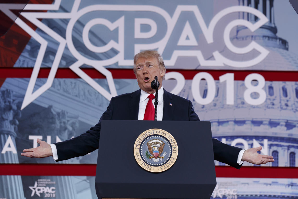 President Trump at the Conservative Political Action Conference. (Photo: Evan Vucci/AP)