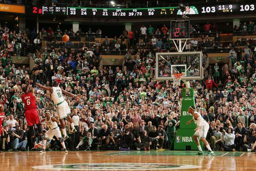 BOSTON, MA - MARCH 18: LeBron James #6 of the Miami Heat makes a go-ahead shot late in the fourth quarter against Jeff Green #8 of the Boston Celtics on March 18, 2013 at TD Garden in Boston, Massachusetts. (Photo by Nathaniel S. Butler/NBAE via Getty Images)