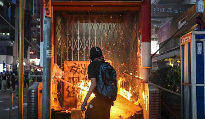 The tactics of protesters have evolved during the protests, with hard-core elements vandalising the city's railway network and trashing private businesses. Photo: Edmond So