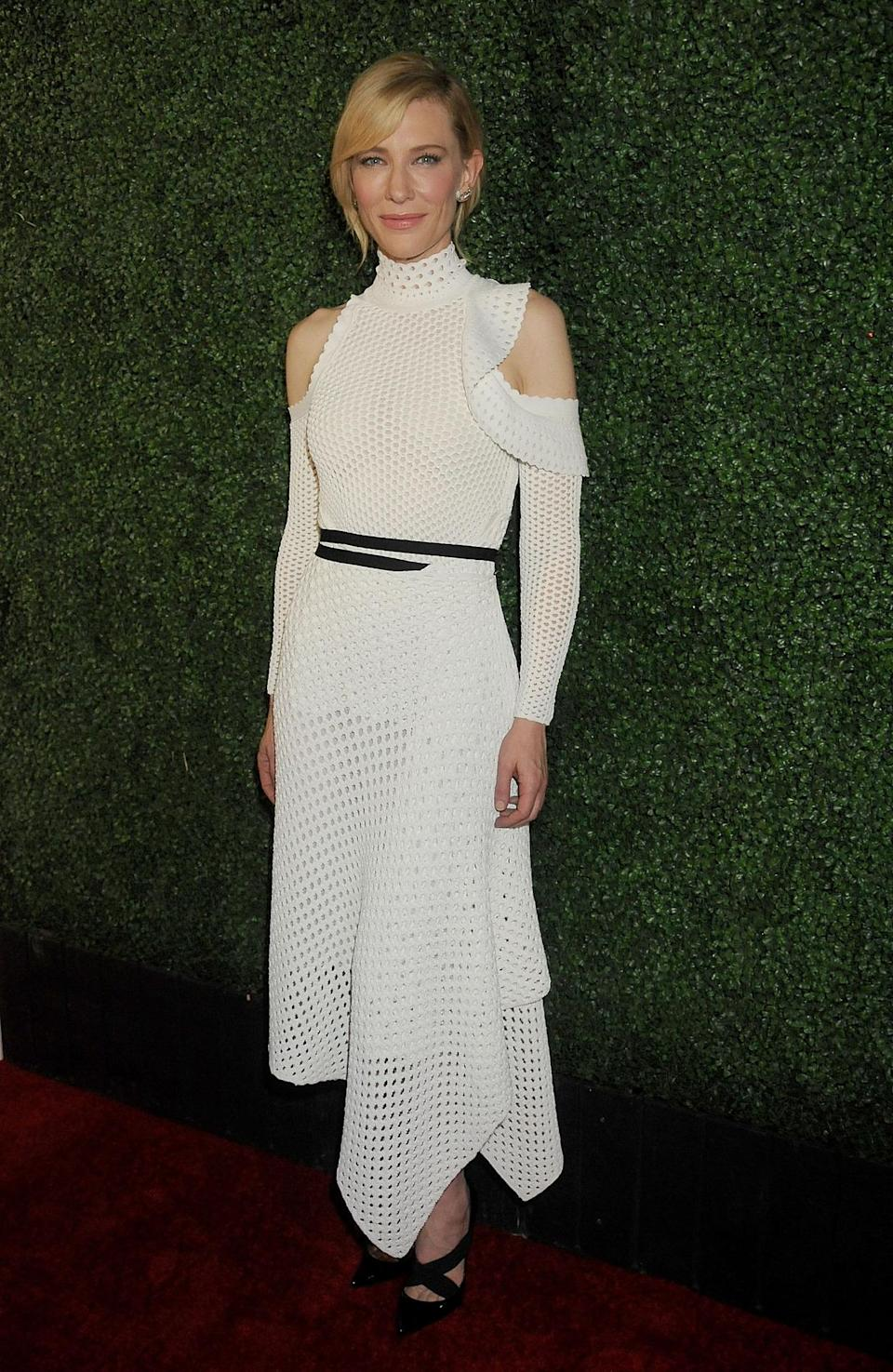 <p>Cate Blanchett loves taking risks on the red carpet. While promoting her new film, <i>Truth</i>, in LA, the Academy Award-winner wore a white knitted Proenza Schouler dress fresh off the runway, paired with slick black Christian Louboutin pumps. <i>Photo: Getty Images</i></p>