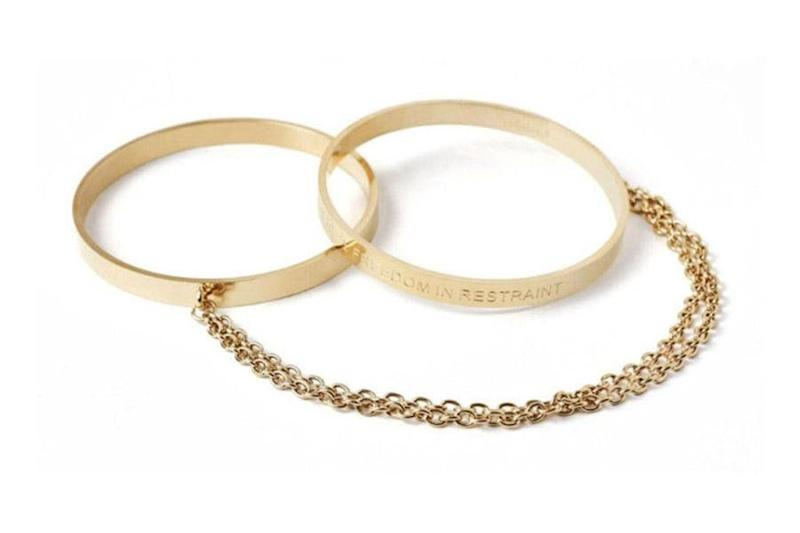 """When unstacked, these <a href=""""https://unboundbox.com/products/unbound-cleo-bangle-handcuffs"""" target=""""_blank"""">bangles convert into functional wrist restraints</a> so any night can take a ~sexy~ turn."""