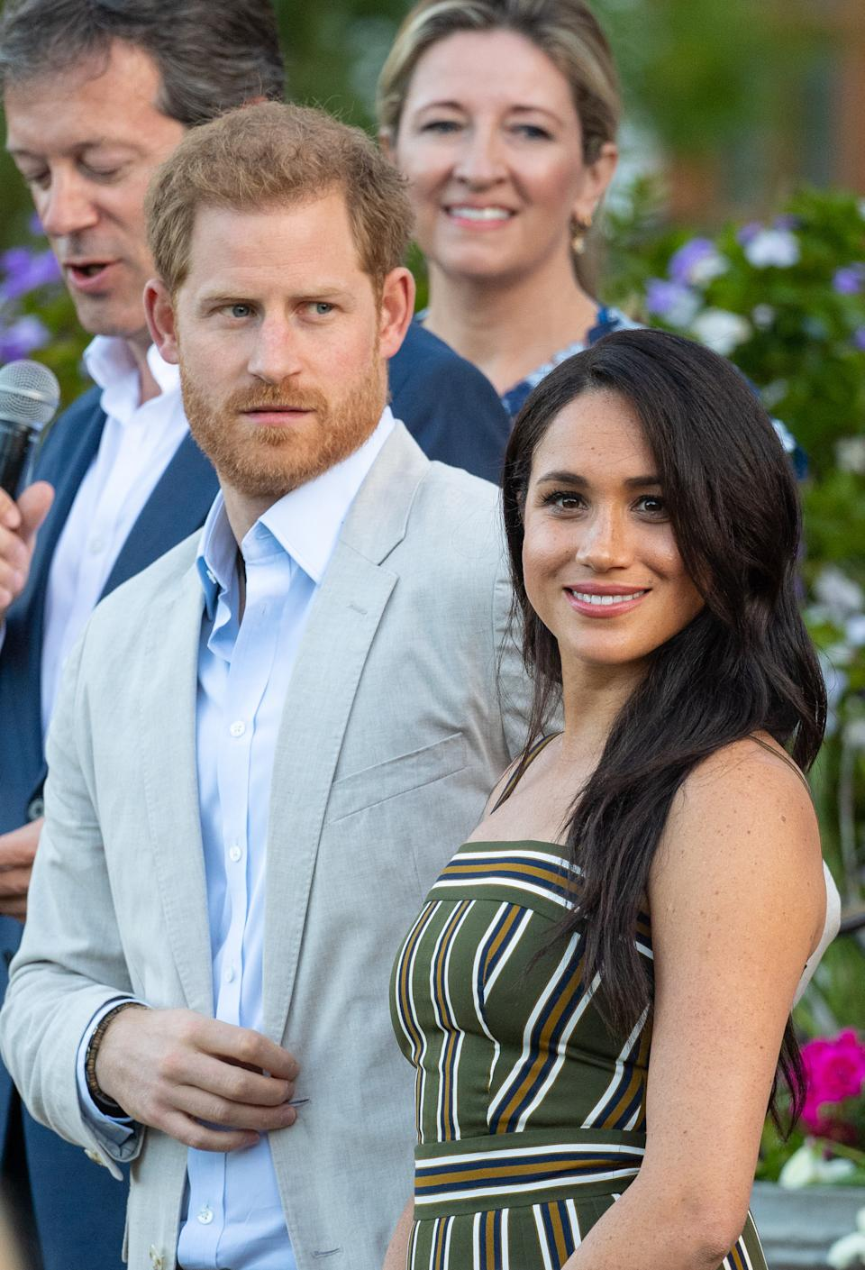 Meghan Markle opted to recycle her striped Martin Grant dress for the Youth Reception in Cape Town [Photo: PA]