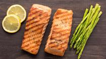 <p><strong>Cost:</strong> $5</p> <p>As non-vegetable proteins go, grilled, wild-caught salmon is just about the perfect option. Each of these fillets contains just 90 calories, but they're loaded with heart-healthy omega-3 fatty acids, 15 grams of protein and 40% of your daily requirement for selenium, a trace mineral that helps prevent oxidative damage. Take that grilled salmon and turn it into an easy and delicious meal of salmon burgers.</p>