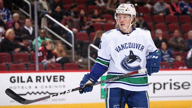 "<a class=""link rapid-noclick-resp"" href=""/nhl/players/6765/"" data-ylk=""slk:Brock Boeser"">Brock Boeser</a> was injured when trying to deliver a check on Monday night. (NBC Sports)"