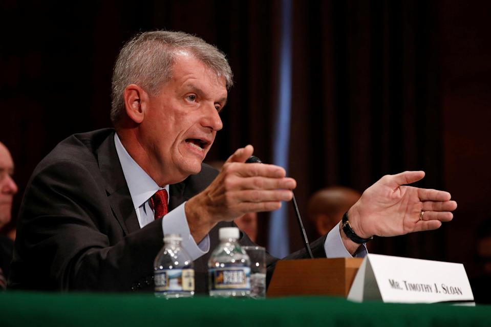 Wells Fargo & Company CEO and President Tim Sloan testifies before the Senate Banking Committee on Capitol Hill in Washington, U.S., October 3, 2017. REUTERS/Aaron P. Bernstein