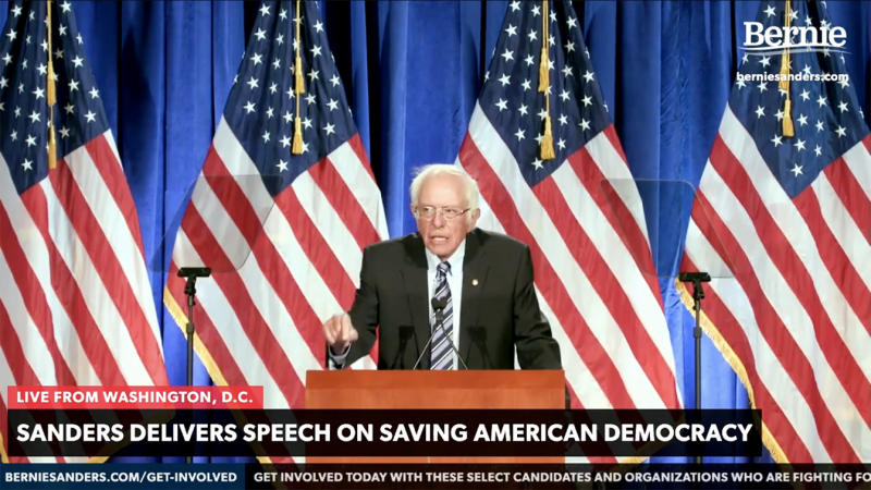 Sen. Bernie Sanders addresses the nation: Trump's Threat to Our Democracy. (via YouTube)