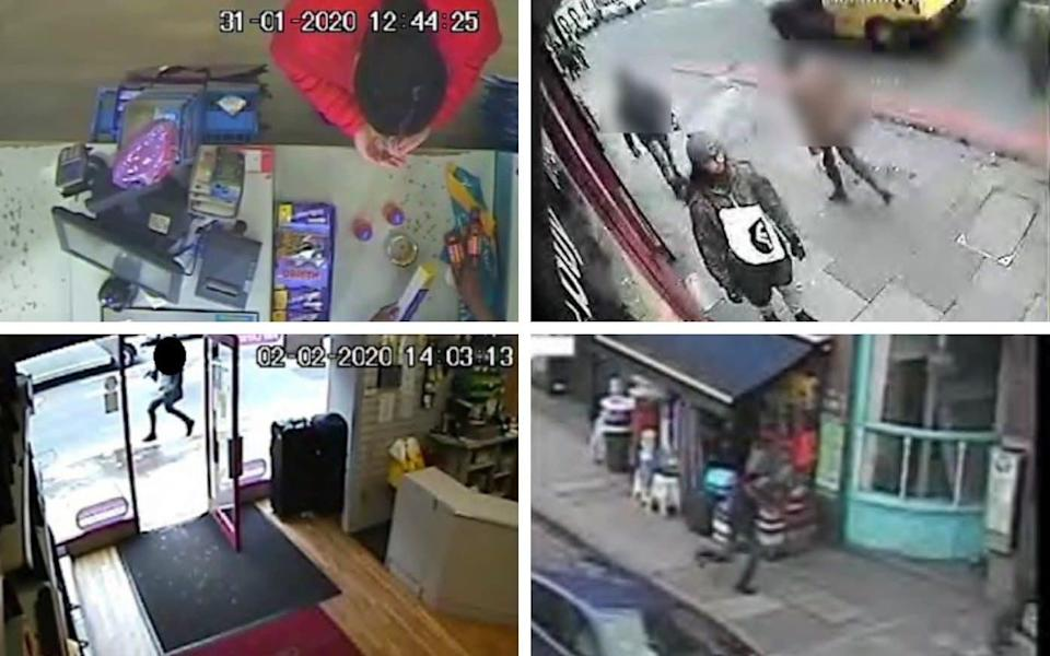 Sudesh Amman shopping (top left) two days before the attack, and then walking along Streatham High Street (top right), before launching an attack and running away (bottom pictures) - Met Police/PA