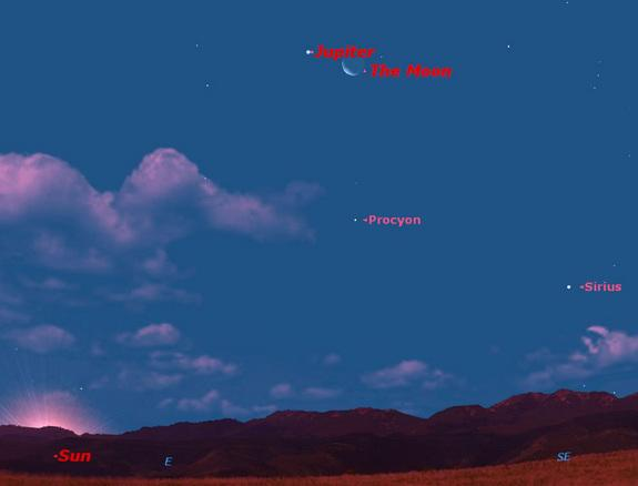 Saturday, August 31, 2013, morning. Jupiter will be just to the left of the waning crescent moon.