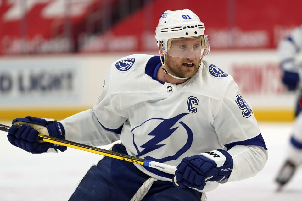 FILE - In this March 11, 2021, file photo, Tampa Bay Lightning center Steven Stamkos skates against the Detroit Red Wings in the first period of an NHL hockey game in Detroit. (AP Photo/Paul Sancya, File)
