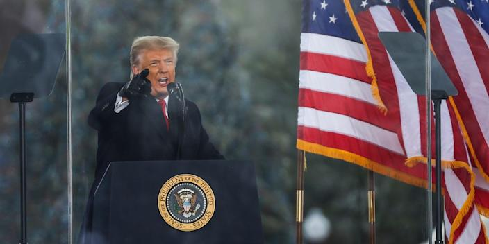 donald trump speaks at the rally before the capitol seige with american flags behind him and the presidential seal on a lectern in front of him