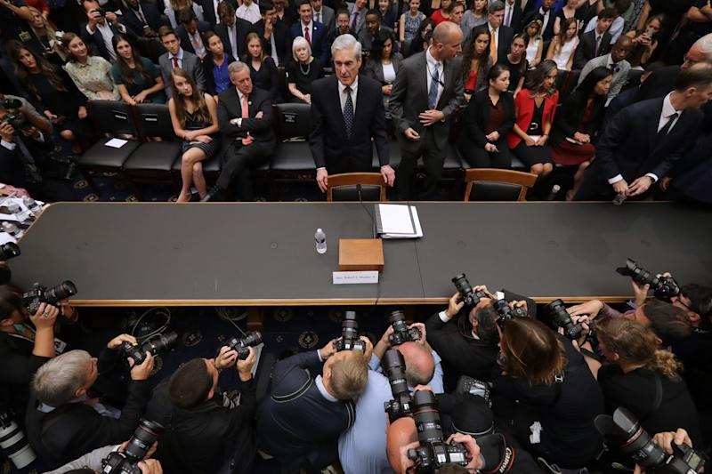 Former special counsel Robert Mueller arrives before testifying to the House Judiciary Committee about his report on Russian interference in the 2016 presidential election.