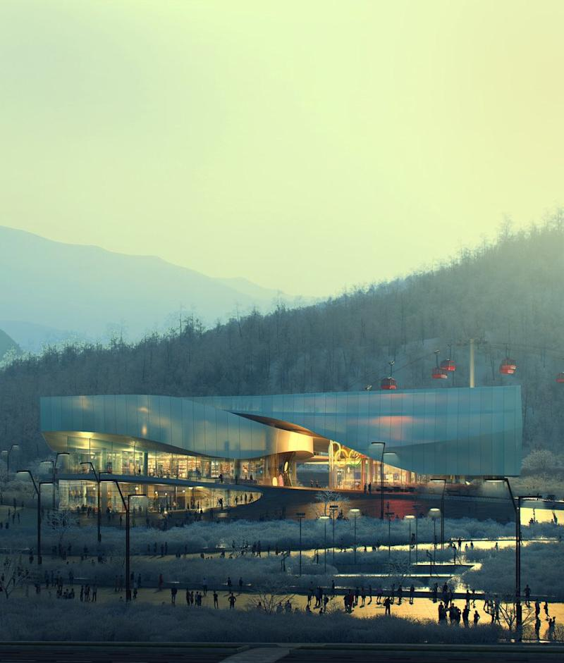 Beijing's new Winter Olympic Museum at sunset.