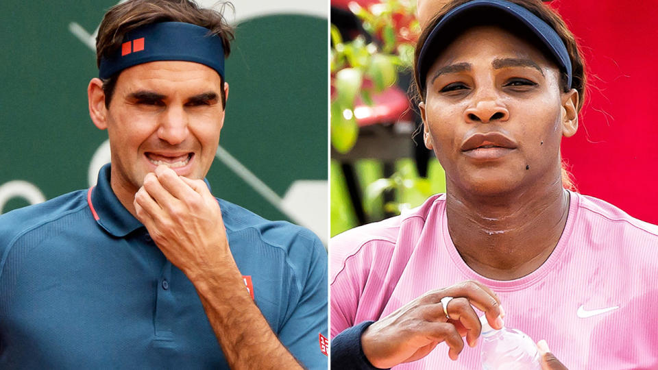 Roger Federer and Serena Williams, pictured here in action in Geneva and Parma.