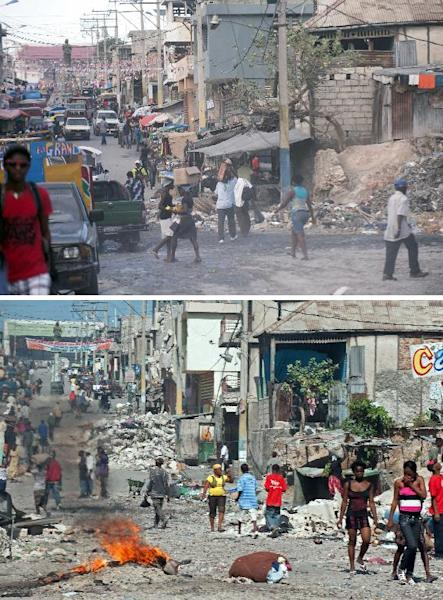 These images show downtown Port-au-Prince, on December 29, 2014 (top) and January 18, 2010, six days after it was hit by the eartkquake (bottom) (AFP Photo/)
