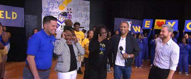 PHOTO: Ms. Frankie Johnson and Mrs. Chantel Evans-Gatewood, history teachers at Wingfield High School in Jackson, Mississippi, were surprised live on 'Good Morning America' by NSYNC's Lance Bass. (ABC)