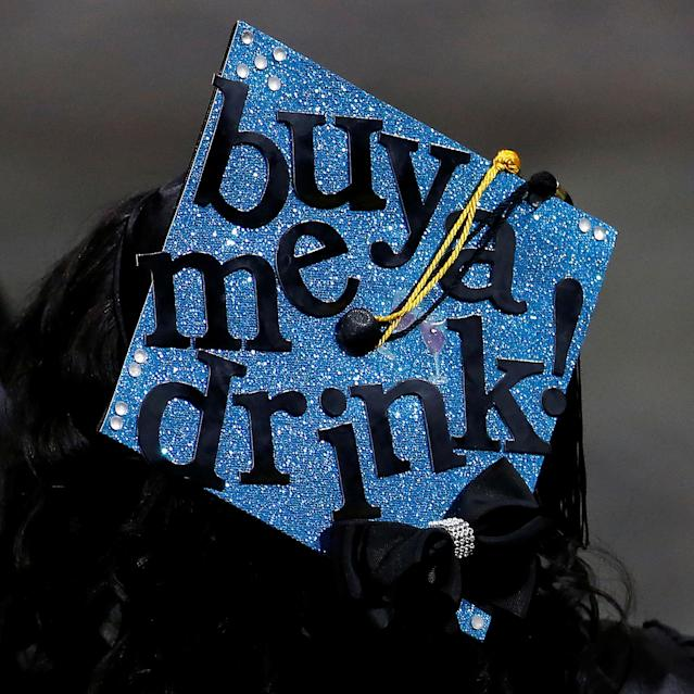 <p>A graduate's mortar board hat is pictured during a commencement for Medgar Evers College in the Brooklyn borough of New York City, New York, June 8, 2017. (Photo: Carlo Allegri/Reuters) </p>